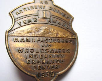 1939 Safe Driver Award Badge