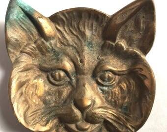 Adorable Cast Brass Kitten Tray