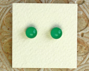 Fused Glass Earrings, Petite, Jade Green DGE-1020