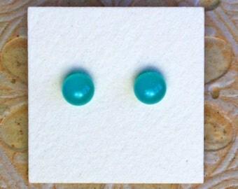 Fused Glass Earrings, Petite, Teal  DGE-1257