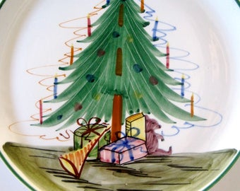 CHRISTMAS Plate Made In Italy European Hand Painted Christmas Tree Presents