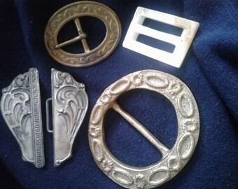 4 Old European Belt Buckles