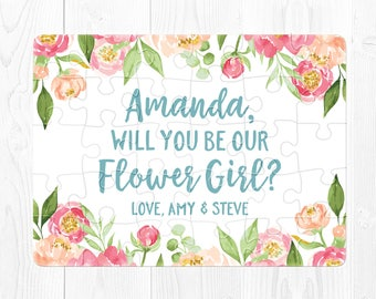 Flower Girl Proposal Puzzle Will You Be My Flower Girl Proposal Gift Ask Flower Girl Puzzle Proposal Blue Flower Girl Proposal Gift Aqua