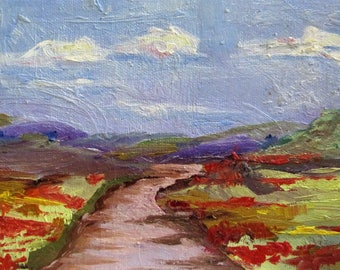 Landscape with Poppies original oil painting Art by Delilah