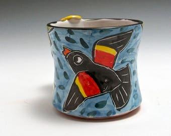 Ceramic Red Wing Black Bird Coffee Mug - Pottery Bird Mug - Majolica Mug - Coffee Cup - 11 ounce oz Coffee Mug - Tea Cup - Gift for Her Him