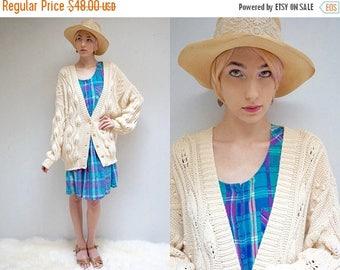 sale 25% off - Fisherman Sweater  //  Chunky Cotton  Cardigan  //  Oversized Cotton Sweater  // THE TRILLIUM