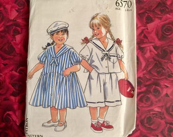 Vintage Girls Sailor Dress Sewing Pattern