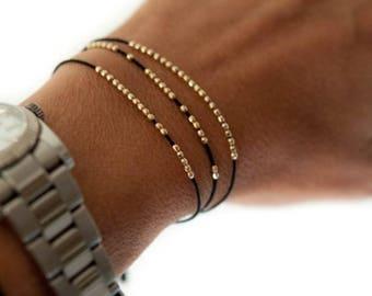 SALE Silk bracelet. Disco faceted friendship bracelet in 14k solid yellow gold.  Beaded bracelet. Delicate bracelet.