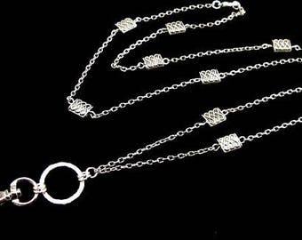 Women's Pretty ID  Lanyard Necklace with Celtic Beads and Chain, Work Badge Lanyard, Breakaway Lanyard, Cute ID Lanyard