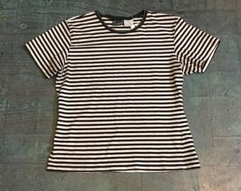 Vintage 90s Liz Clairborne striped short sleeve shirt top // size M medium