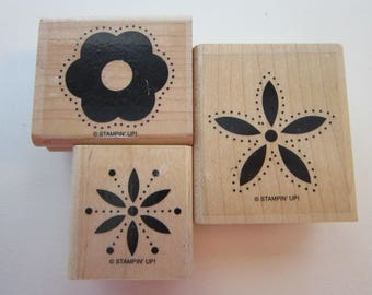3 rubber stamps - dot outline flowers - Stampin Up - polka dot flowers