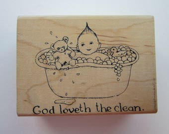 rubber stamp - God Loveth the Clean -baby in bathtub - bubble bath - used rubber stamp
