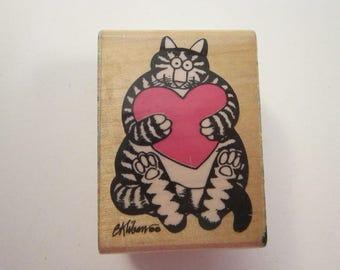 htf vintage rubber stamp - Kliban cats - My Sweetheart - Rubber Stampede - used rubber stamp