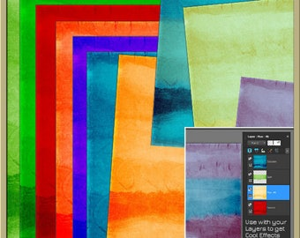 INSTANT DOWNLOAD - Watercolour Blendable Digital Backgrounds - Red Blue Green Orange Purple