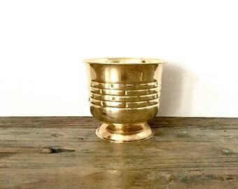 Solid Brass Planter / Brass Pedestal Planter