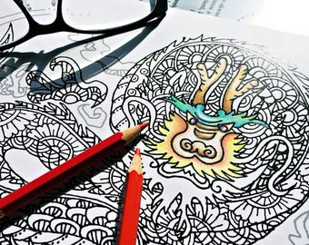 zentangle dragon printable coloring page ~ animal - Instant Download only, Art Printable illustrations