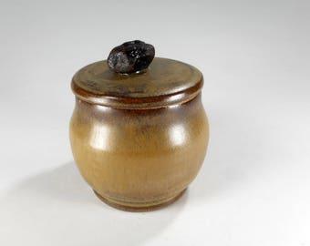 Ceramic sugar bowl salt cellar, pottery sugar storage jar, stoneware jar with lid, rock knob, ceramic salt jar, pottery salt bowl with lid
