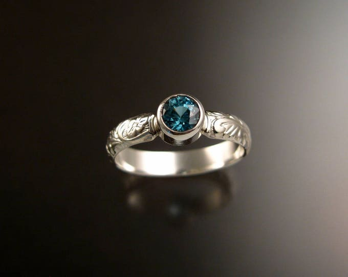 Blue Zircon ring Sterling Silver blue Diamond substitute Victorian floral pattern ring made to order in your size