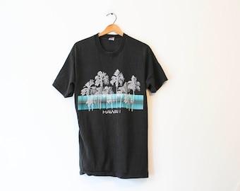 Vintage Black Hawaii Retro Wave Palm T Shirt