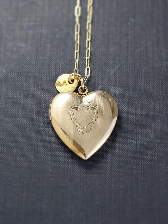 Large Gold Heart Locket Necklace, 14k Gold Filled Vintage Pendant with Custom Initial Charm - Golden Love