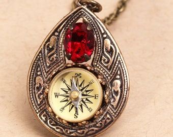 Working Compass Pendant Bohemian Necklace Compass Necklace Red Crystal Necklace