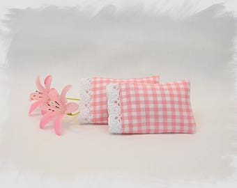 Dollhouse Miniature Doll Pillowcases with Removable Pillows / Baby Pink Checks with Lace / Set of 2 / 1:12 Dollhouse Scale