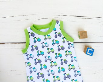 Baby Romper, Scooter Baby Romper, Vespa Baby Romper, Baby Boy Clothes, Baby Shortie Romper, Summer Romper, Baby Boy Outfit