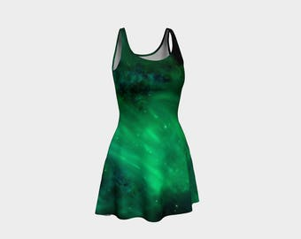 Green Galaxy Skater Dress | Size XS S M L XL | Bold Design Pattern | Party Dancing Ice Roller Skating | Short Fitted Sleeveless Mini Dress