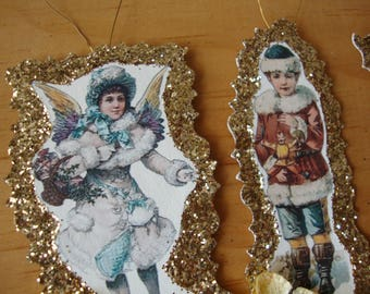 Victorian Christmas ornaments paper vintage angels gold glitter ornaments christmas decor paper die cut ornaments Christmas hostess gifts