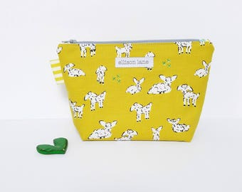 Little Lambs Zippy, Cosmetic Bag, Zipper Pouch, Gifts for Girls, Pretty Pouch, Gift for knitters