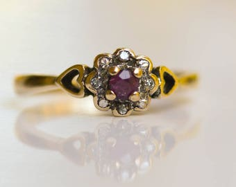 Ruby and Diamond Ring, Vintage 9kt Gold Ring, Size 5 1/4, Vintage July Birthstone, Alternative Engagement Ring