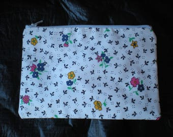 Makeup/cosmetic/pencil case pouch flower print contrasting lining French inspired bow