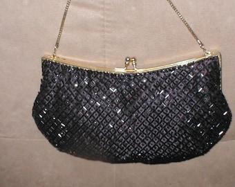 Vintage WALBORG Black Beaded Evening Bag Purse