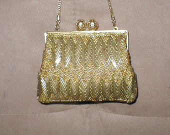 Vintage Gold  Beaded Evening Bag Purse