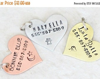 Heart / Pet ID Tag / Dog Tag / Key Chain / Copper / Brass / Aluminum / Personalized / Customized / Designer / Handmade A046
