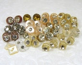 42 Pc Mixed Lot Tiny Vintage Buttons Diminutive Matching Sets Pairs Singles Small Little Rhinestone Glass MOP Pearl Acrylic Button Mix Doll
