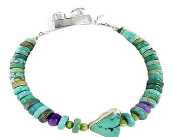 Clearance Sale Carico Lake Turquoise Bracelet Sterling Silver Triangle