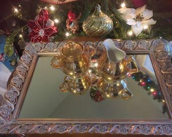 Large Vintage Vanity Mirror Mirrored Tray