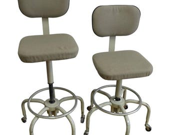 Pair of Vintage Industrial Drafting Stools; Adjustable Height; Swivel Base