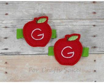 Apple Felt Clippie / Apple Feltie / Apple Hair Clips / Monogrammed / School Feltie / Girls Hair Clip / Personalized Feltie / School Clip