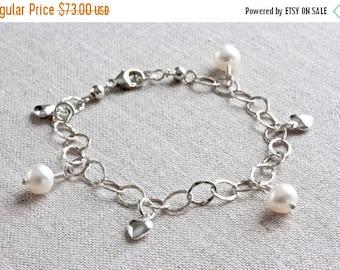 Heart Charm Bracelet, Freshwater Pearl Bracelet, Silver Chain Bracelet, Silver Charm Bracelet, White Pearl Bracelet, Sterling Silver Jewelry