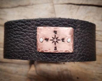 "Follow Your Heart Copper Compass on 1"" leather"