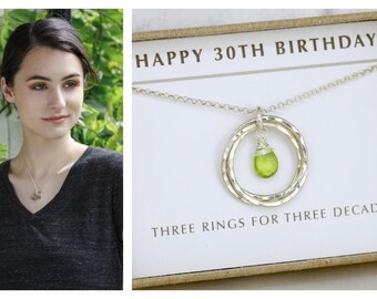 30th birthday gift for her, peridot necklace for daughter gift for sister, August birthstone jewelry - Lilia