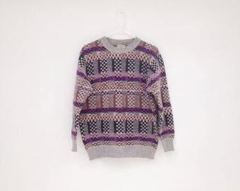 SALE Vintage 1980s BENETTON Shetland Wool Unisex Pullover Sweater