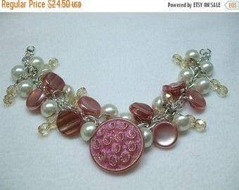SALE 30% OFF Vintage Beautiful Unique Hand Made Pink Glass Vintage Button and Bead Bracelet--One of a Kind