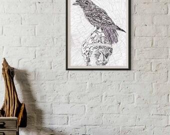 Raven Art Print Poetry Word Art Calligram Print of The Raven by Poe Hand Lettered Calligram Raven Illustration Gifts for Writers Poe Art