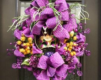 Mardi Gras Wreaths, Fat Tuesday Wreath, Mardi Gras Decoration, Door Wreath, Mardi Gras Door Wreath