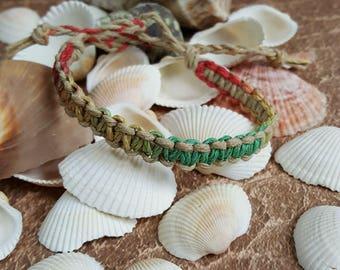 Surfer Hemp Bracelet Rasta and Natural Natural Woven Knot Friendship Bracelets