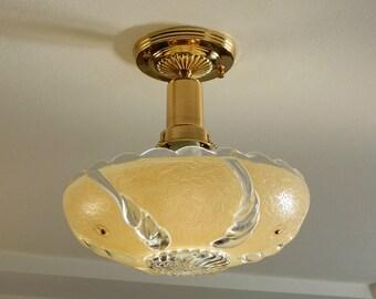 Beaded Chain War Era Ceiling Light Vintage Glass Shade New Solid Brass Fixture
