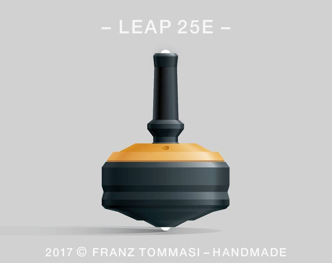 LEAP 25E Yellow-on-Black Spin Top with rubber grip, dual ceramic tip, and accent holes (3)